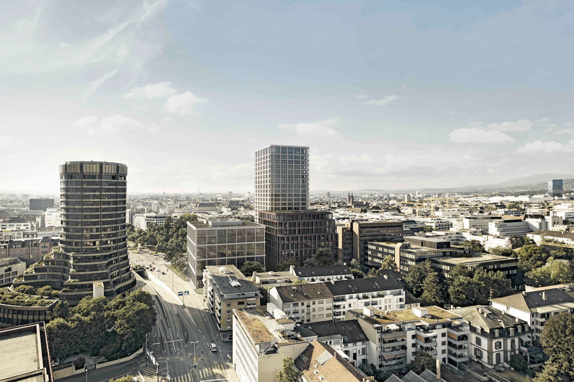 Visualisation: three state-of-the-art new buildings next to a green, park-like area; in the background, the rooftops of the city of Basel