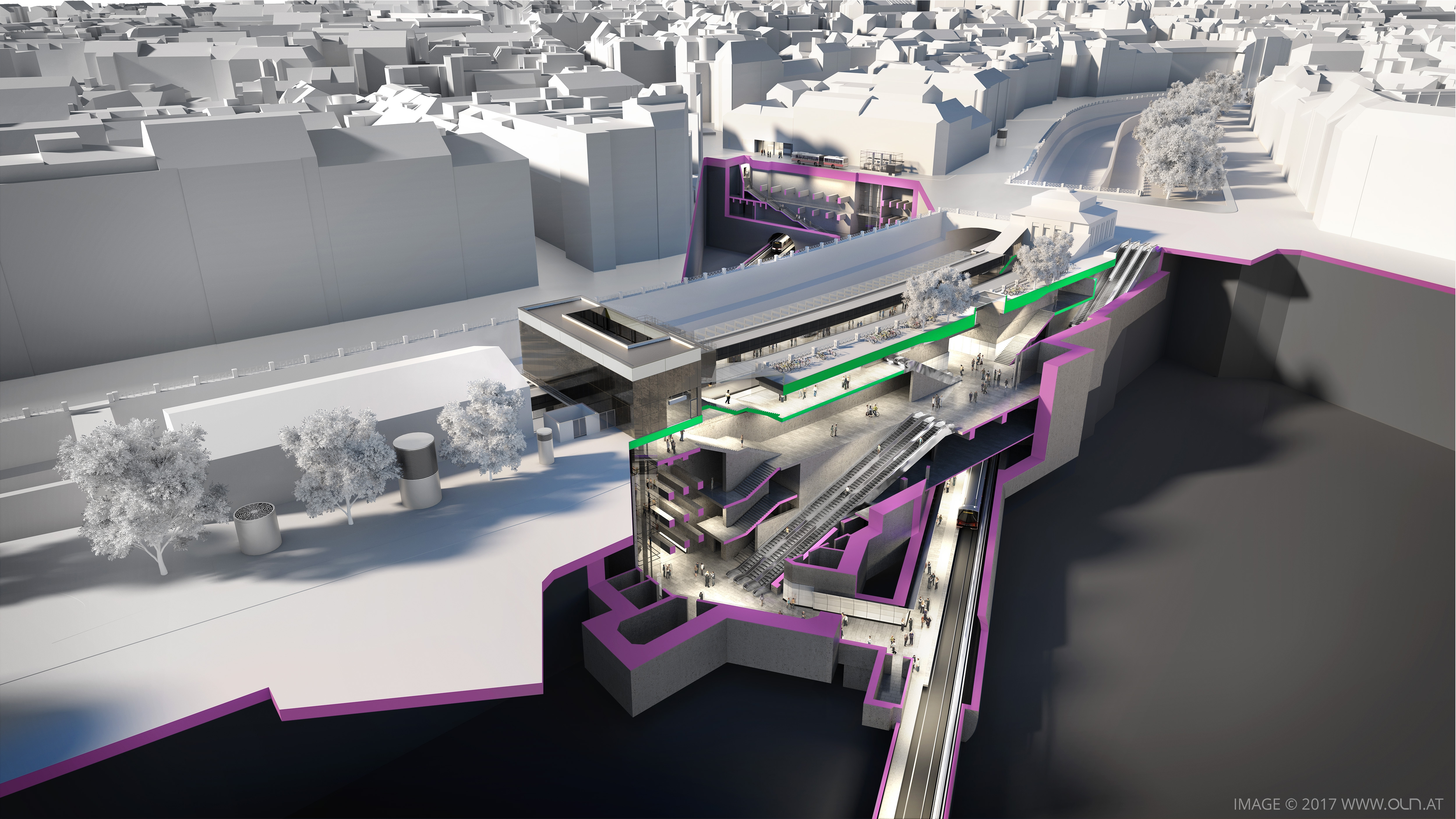3D visualization of the future U2 station Pilgramgasse